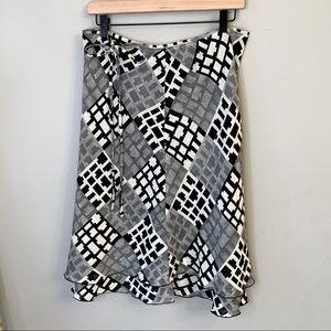 FieChen a line ruffle geometric skirt black tan